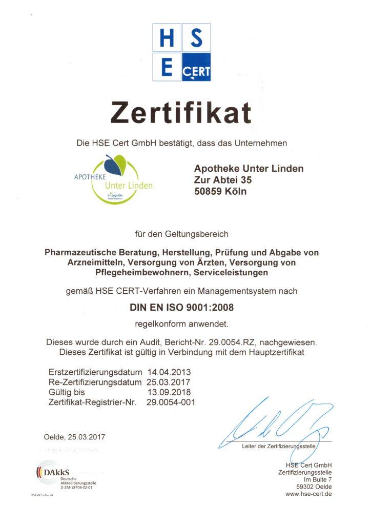 Unser Zertifikat - Apotheke Unter Linden- Köln-Lövenich