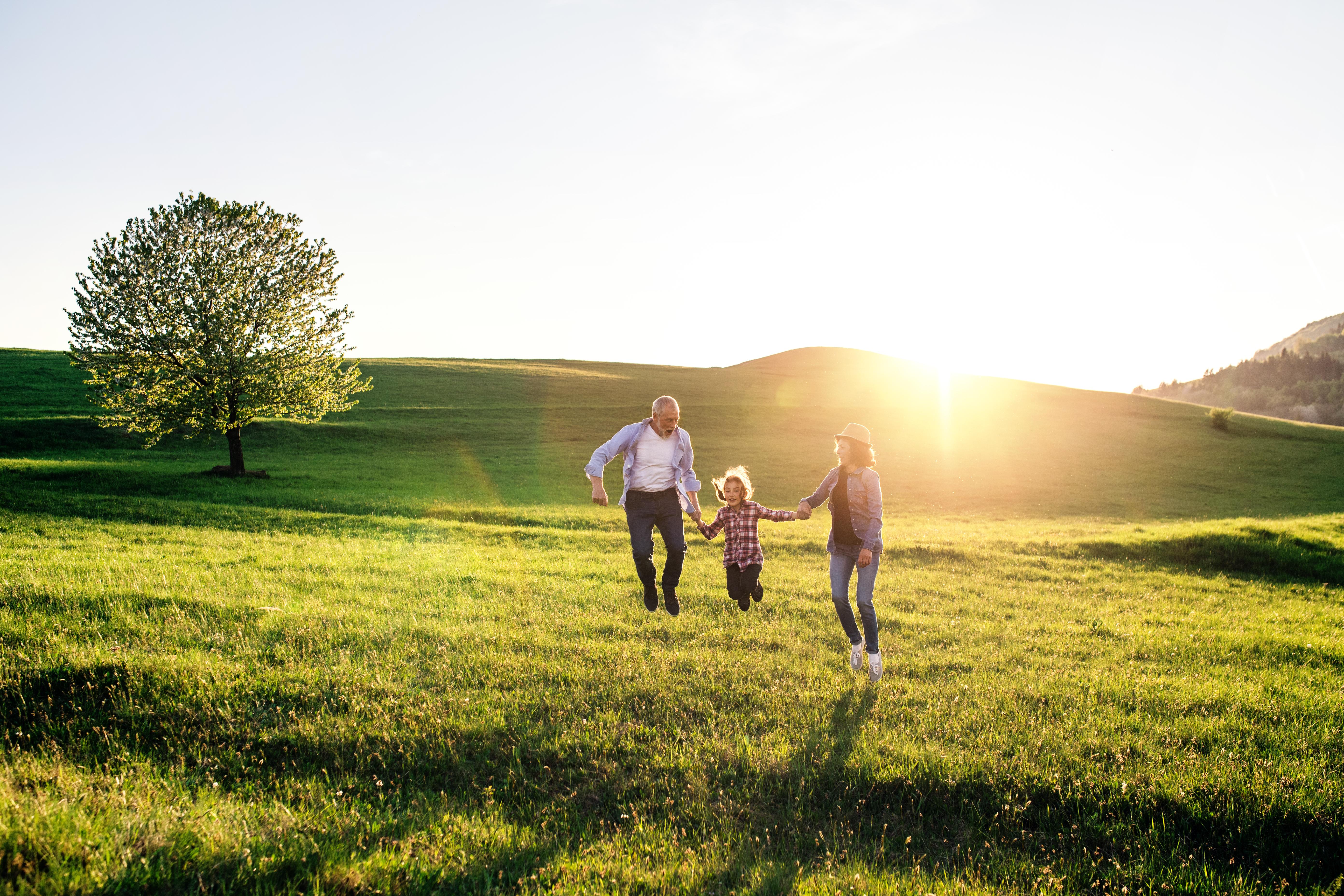 Senioren Paar mit Enkelkind auf einer grünen Wiese